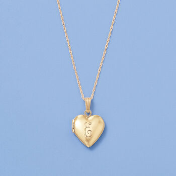 "Child's 14kt Yellow Gold Single Initial Heart Locket Necklace. 15"" , , default"