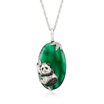 Green Agate and .16 ct. t.w. Black Spinel Panda Pendant Necklace with White Topaz Accents in Sterling Silver