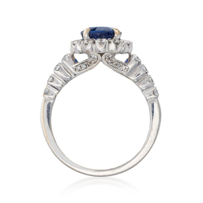 C. 1990 Vintage 1.90 Carat Sapphire and .75 ct. t.w. Diamond Ring in 18kt White Gold