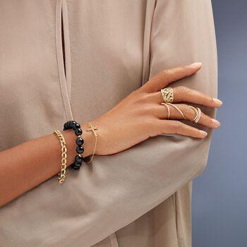 10-11mm Black Onyx Bracelet With 14kt Yellow Gold, , default