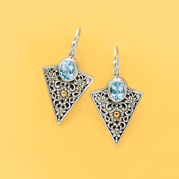 2.20 ct. t.w. Blue Topaz Balinese Arrowhead Earrings in Sterling Silver and 18kt Yellow Gold