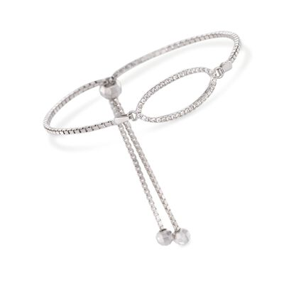 .20 ct. t.w. CZ Oval Bolo Bracelet in Sterling Silver, , default