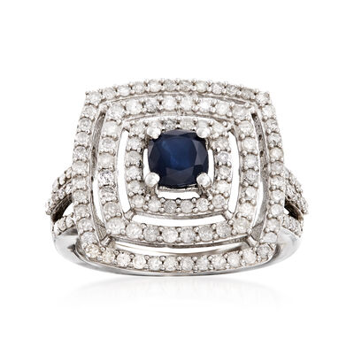.90 Carat Sapphire and 1.00 ct. t.w. Diamond Square Ring in Sterling Silver, , default