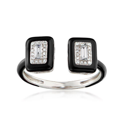 .21 ct. t.w. Diamond Open-Space Ring with Black Enamel in 18kt White Gold