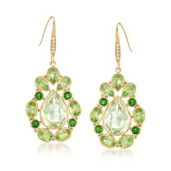 15.75 ct. t.w. Green Multi-Stone Drop Earrings in 18kt Yellow Gold Over Sterling, , default