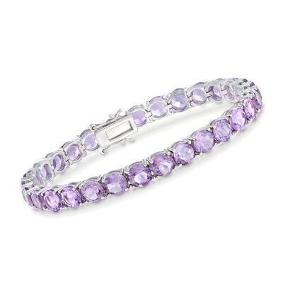 20.00 ct. t.w. Amethyst Tennis Bracelet in Sterling Silver, , default