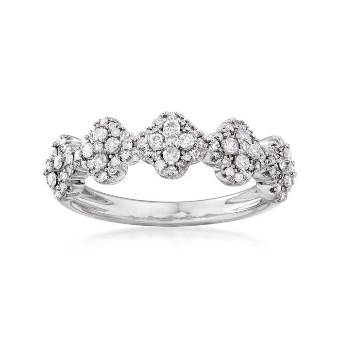 .50 ct. t.w. Diamond Clover Ring in Sterling Silver, , default