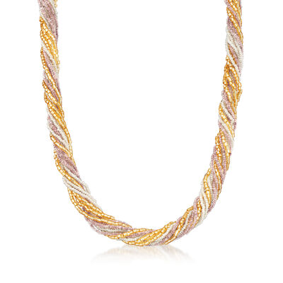 Italian Multicolored Murano Glass Bead Necklace with 18kt Yellow Gold Over Sterling, , default