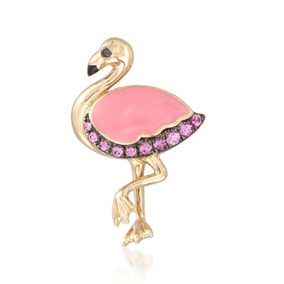 .28 ct. t.w. Pink Sapphire and Enamel Flamingo Pin With Black Diamond Accent in 14kt Yellow Gold, , default