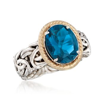 4.10 Carat London Blue Topaz Ring in 14kt Yellow Gold and Sterling Silver. Size 9, , default