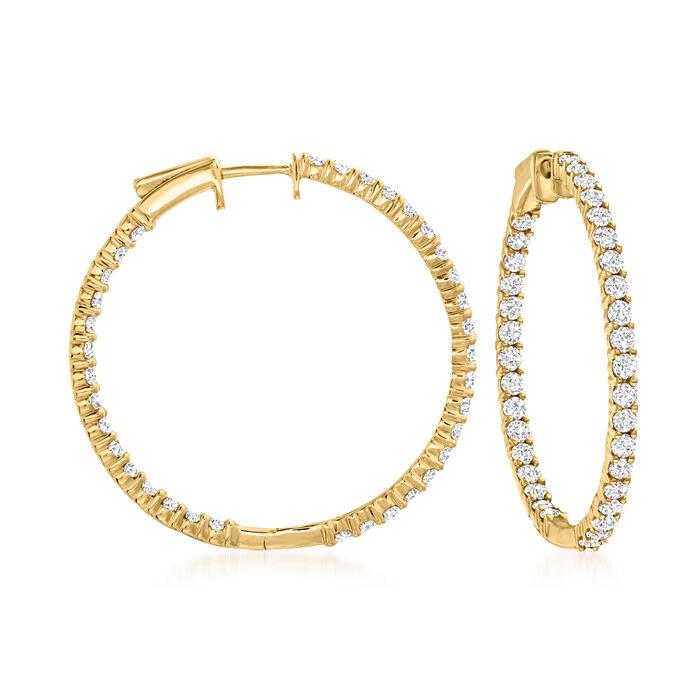 3.00 ct. t.w. Diamond Inside-Outside Hoop Earrings in 14kt Yellow Gold