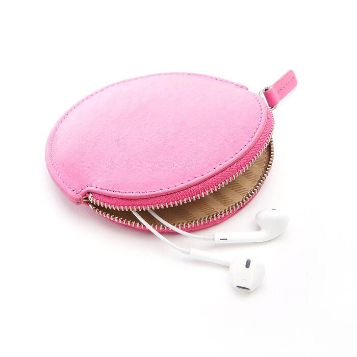 Royce Bright Pink Leather Circular Earbud Case