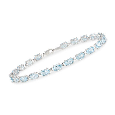 8.75 ct. t.w. Aquamarine Bracelet in 14kt White Gold, , default