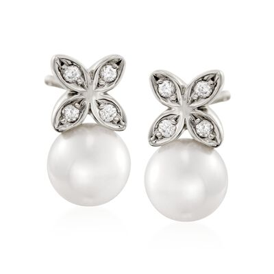 Mikimoto 5.5mm A+ Akoya Pearl Floral Earrings with Diamond Accents in 18kt White Gold