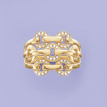 .20 ct. t.w. Diamond Open-Space Circle-Link Ring in 14kt Yellow Gold