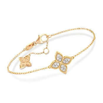 "Roberto Coin ""Princess"" .17 ct. t.w. Diamond Flower Bracelet in 18kt Yellow Gold. 7"", , default"