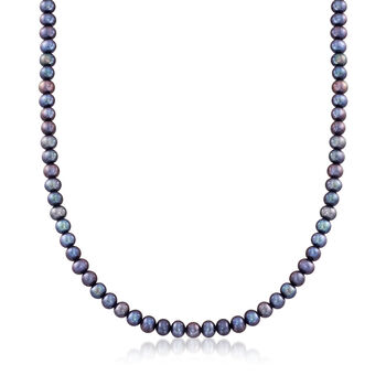5-7mm Multicolored Cultured Pearl Jewelry Set: Four Necklaces and Four Pairs of Stud Earrings in Sterling. 18""