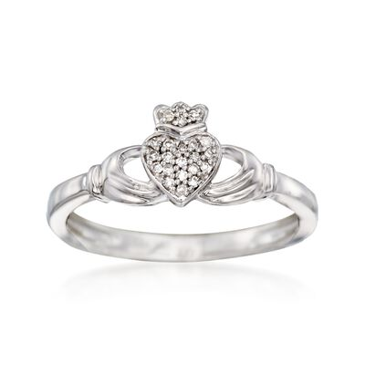 14kt White Gold Claddagh Ring With Diamond Accents, , default