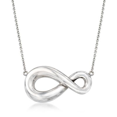 Italian Sterling Silver Infinity Necklace, , default