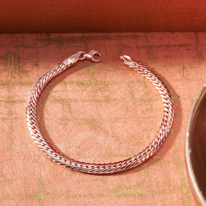 Italian 14kt Rose Gold Cuban-Link Bracelet