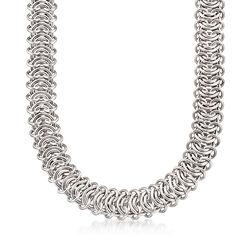 Italian Sterling Silver Fancy-Link Necklace, , default