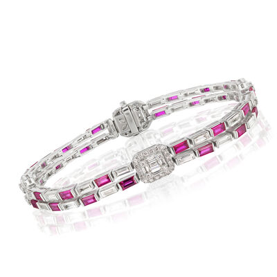 4.54 ct. t.w. Diamond and 4.50 ct. t.w. Ruby Checkerboard Bracelet in 18kt White Gold