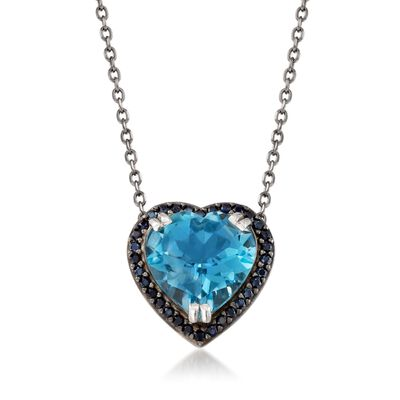7.50 Carat Blue Topaz and .30 ct. t.w. Black Spinel Heart Necklace in Sterling Silver, , default