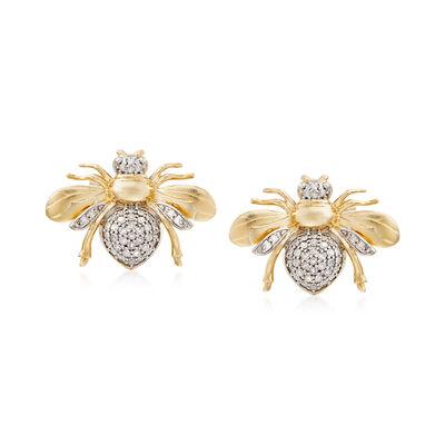 .33 ct. t.w. Diamond Bee Earrings in 14kt Yellow Gold, , default