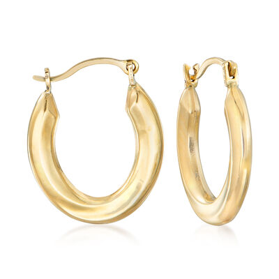 14kt Yellow Gold Small Oval Hoop Earrings , , default