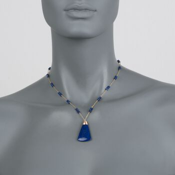 Lapis Triangle Drop Necklace in 14kt Yellow Gold, , default