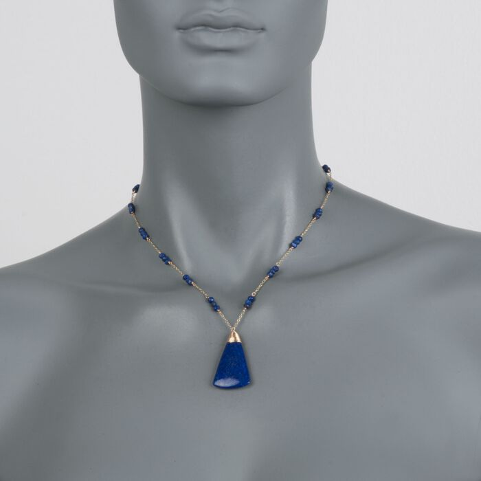 """Lapis Triangle Drop Necklace in 14kt Yellow Gold. 16"""", , default"""