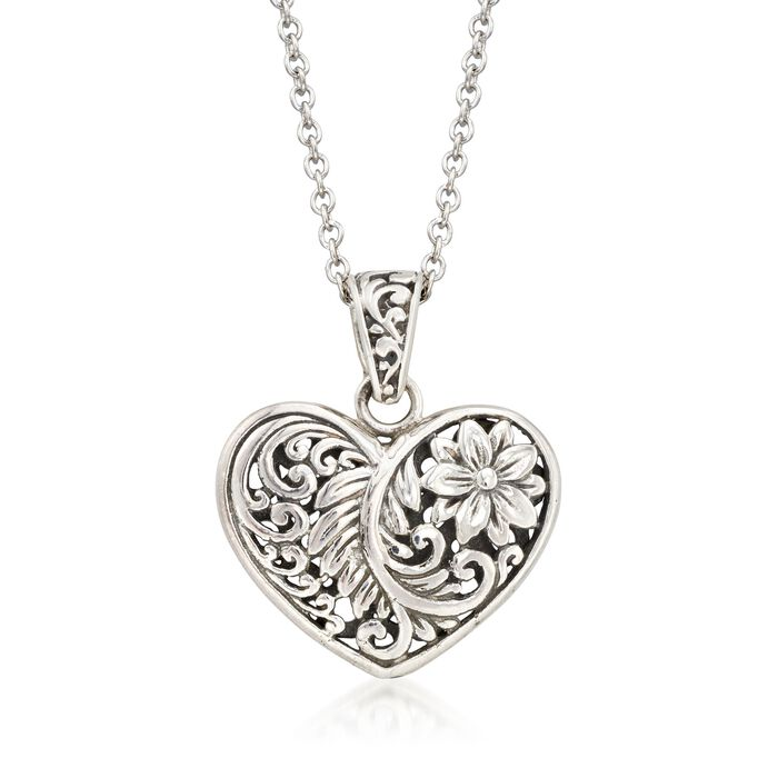 Balinese Sterling Silver Heart Pendant Necklace, , default