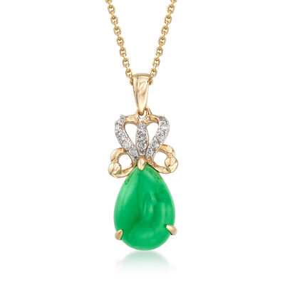 13x9mm Green Jade Pendant Necklace with .11 ct. t.w. Diamonds in 14kt Yellow Gold, , default