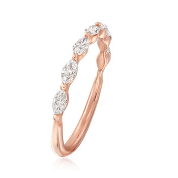 Henri Daussi .49 ct. t.w. Diamond Marquise Wedding Ring in 14kt Rose Gold, , default
