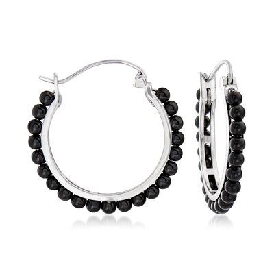 Black Onyx Beaded Hoop Earrings in Sterling Silver