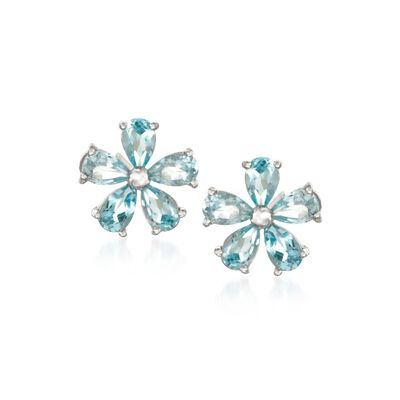 2.30 ct. t.w. Blue Topaz Flower Earrings in Sterling Silver, , default
