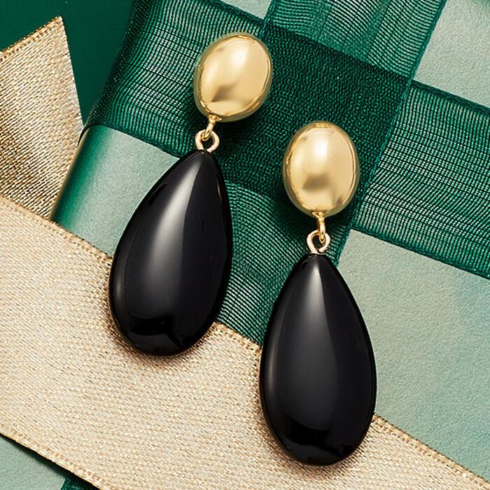 14kt Yellow Gold and Black Onyx Teardrop Earrings