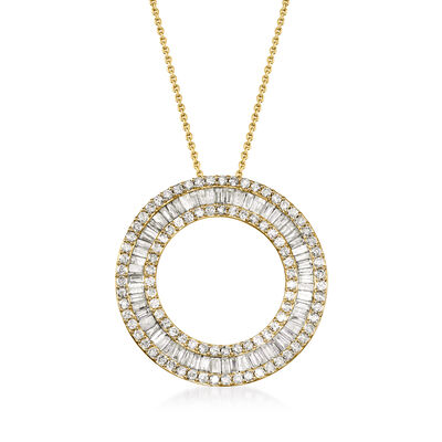 3.00 ct. t.w. Round and Baguette Diamond Open Circle Pendant Necklace in 18kt Gold Over Sterling, , default