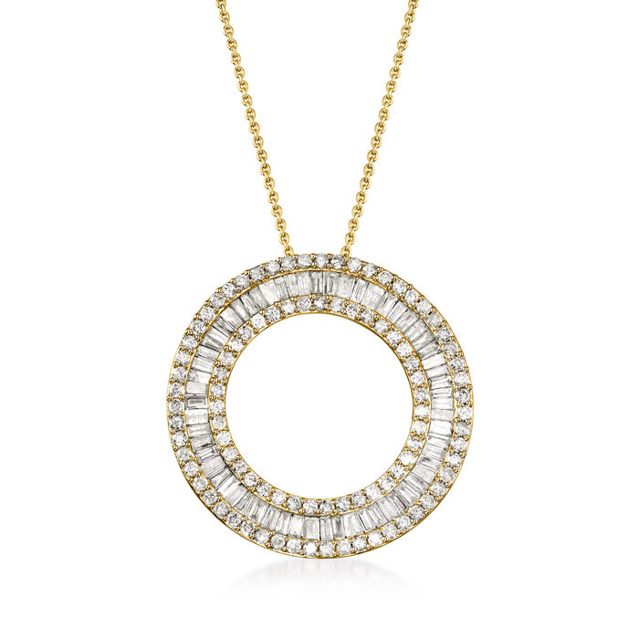 3.00 ct. t.w. Round and Baguette Diamond Open Circle Pendant Necklace in 18kt Gold Over Sterling