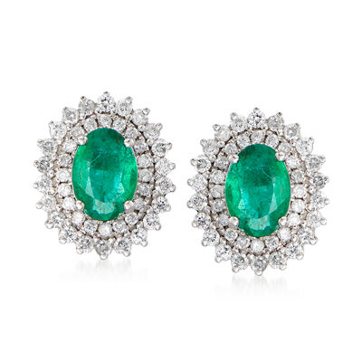 1.30 ct. t.w. Emerald and .60 ct. t.w. Diamond Earrings in 18kt White Gold, , default