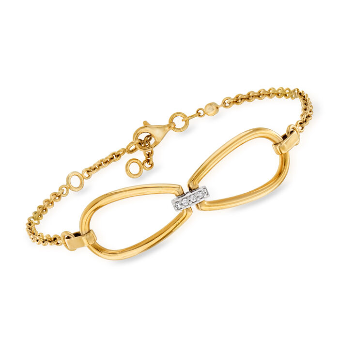 """Roberto Coin .15 ct. t.w. Diamond Link Bracelet in 18kt Yellow Gold. 6.25"""""""