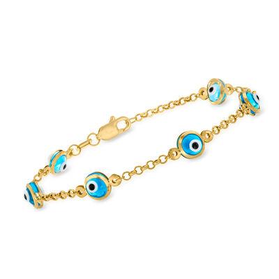 Child's 14kt Yellow Gold Evil Eye Station Bracelet