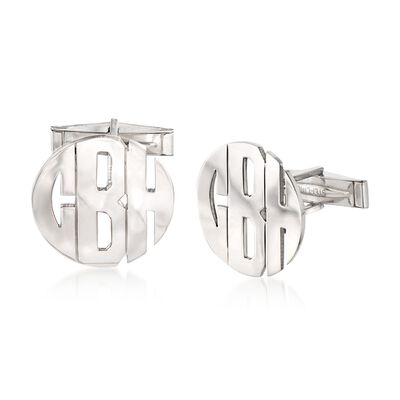 Sterling Silver Monogram Cuff Links, , default