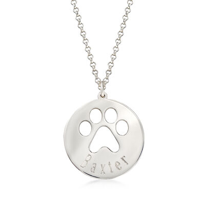 Sterling Silver Personalized Paw Print Pendant Necklace