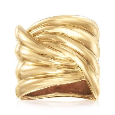 Italian Andiamo 14kt Yellow Gold Crossover Ring, , default