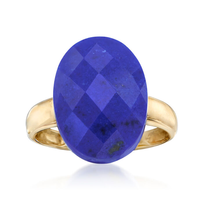 Oval Lapis Ring in 14kt Yellow Gold