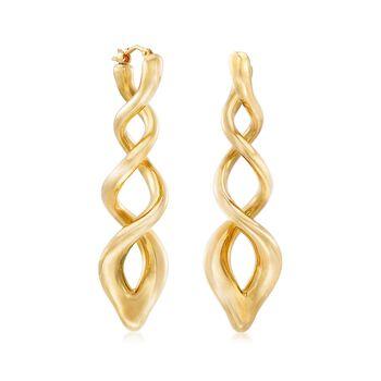 Italian Andiamo 14kt Yellow Gold Swirl Drop Earrings, , default