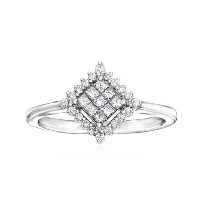 C. 1990 Vintage Giantti .30 ct. t.w. Diamond Cluster Ring in 18kt White Gold, , default