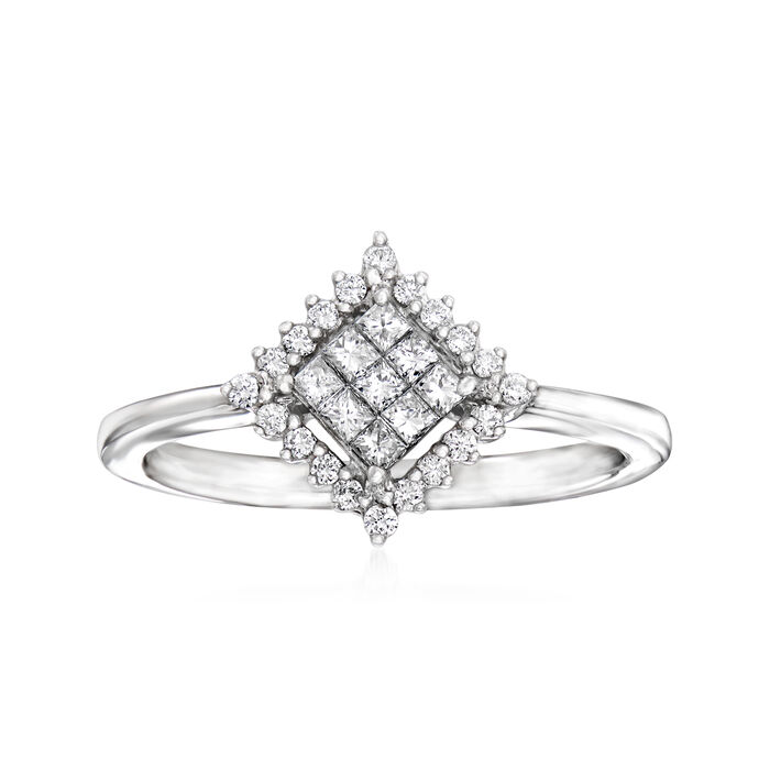 C. 1990 Vintage Giantti .30 ct. t.w. Diamond Cluster Ring in 18kt White Gold. Size 7