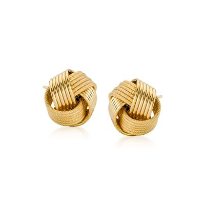 14kt Yellow Gold Large Textured and Polished Love Knot Stud Earrings, , default